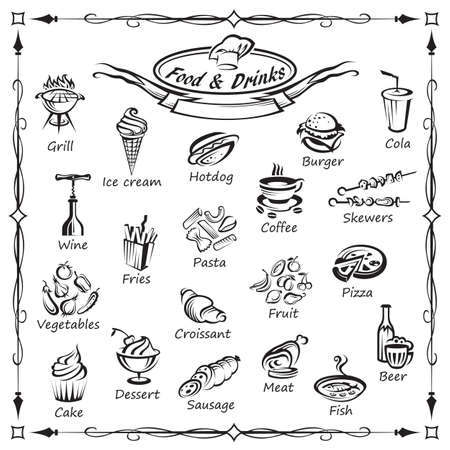 set of food and drinks Vector