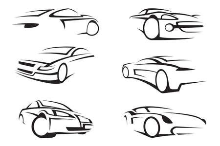 set van zes monochrome auto's
