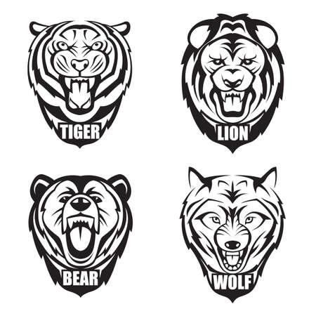 hoofden van de beer, wolf, tijger en leeuw Stock Illustratie
