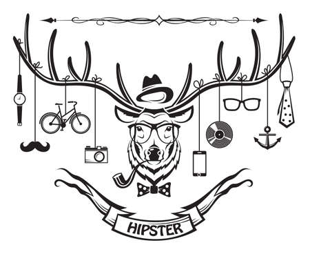 deer with hipster style elements Vector