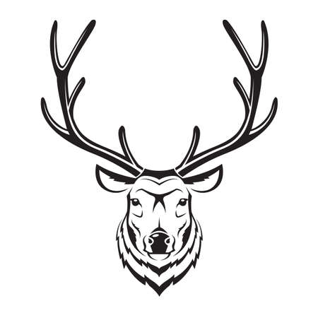 monochrome image of an deer head Illustration