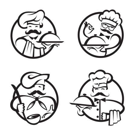 chefs avec plateau de nourriture dans la main Illustration
