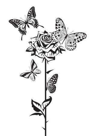 farfalla tatuaggio: disegno in bianco e nero di farfalle e rose