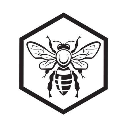 abejas panal: diseño monocromático con la abeja y de nido de abeja Vectores