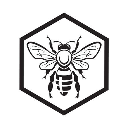 monochrome design with bee and of honeycomb Vector