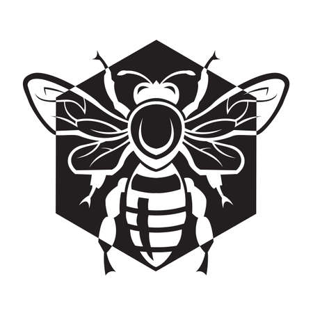 honeybee: monochrome design with bee and of honeycomb