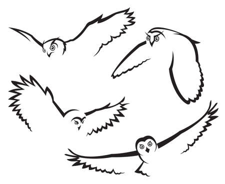 monochrome set of four flying owls Vector