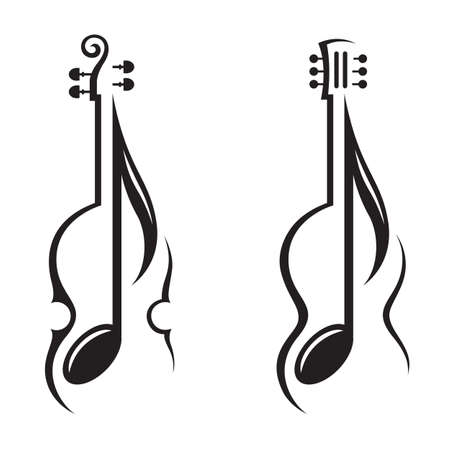 monochrome illustration of violin, guitar and note