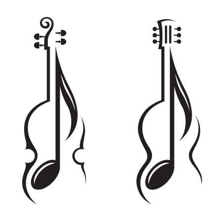 바이올린, 기타와 음표의 흑백 그림 일러스트