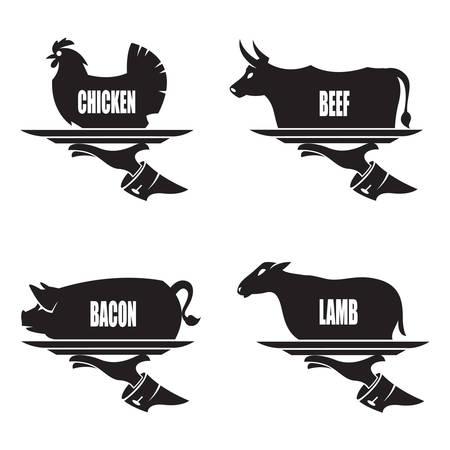 monochrome illustration de plateau à la main avec des animaux de la ferme Vecteurs