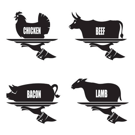 monochrome illustration of tray in hand with farm animals Vector