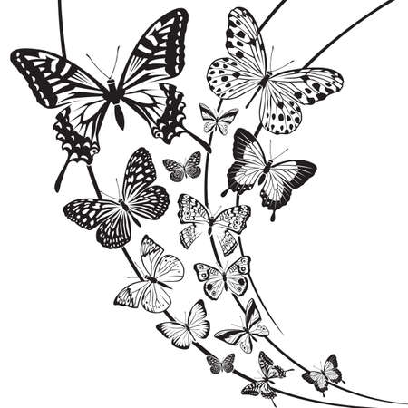 butterfly tattoo: monochrome butterflies design on floral background
