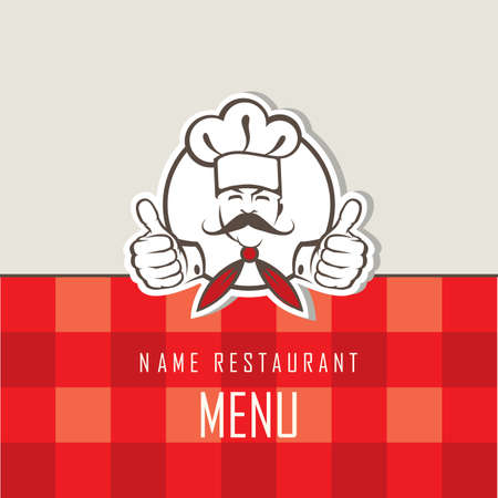 chef caricatura: Diseño del menú del cocinero con bigotes en una bufanda Vectores