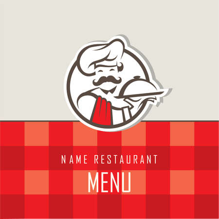 waiter tray: menu design with whiskered cook and plate