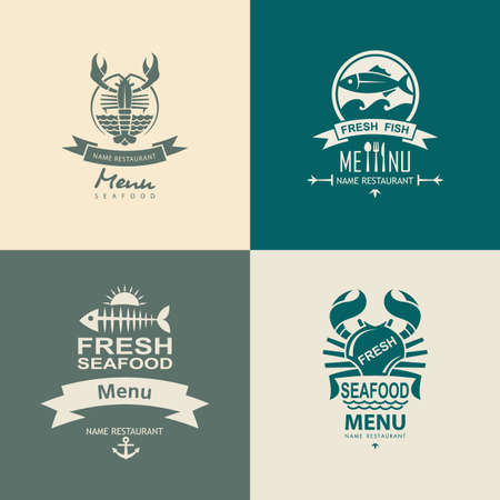 set of four seafood icons