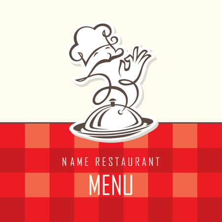 cartoon dinner: chef menu design on a red background Illustration