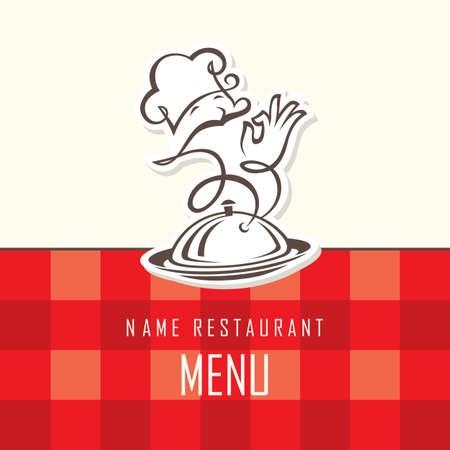 meseros: Dise�o del men� del chef en un fondo rojo Vectores