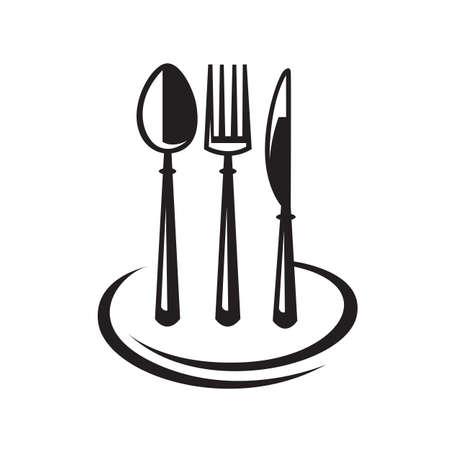 couteau fourchette cuill�re: ensemble monochrome de couteau, fourchette, cuill�re et plaque Illustration