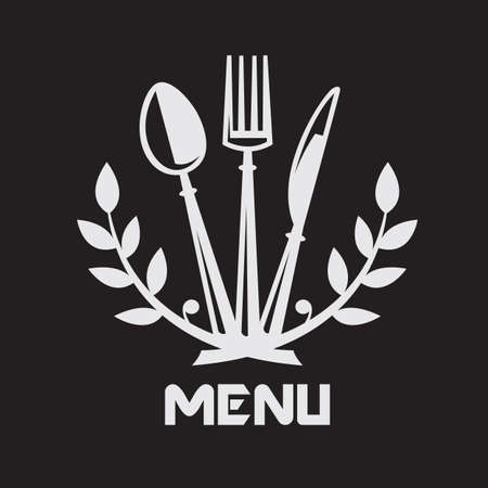metal knife: menu design with knife, fork and spoon on black background