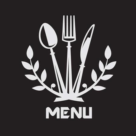 Menu di progettazione con coltello, forchetta e cucchiaio su sfondo nero Archivio Fotografico - 33911232
