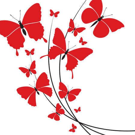 red black: design of different red butterflies Illustration