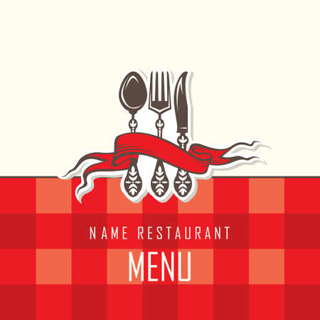 fork and spoon: menu design with fork, spoon and knife Illustration
