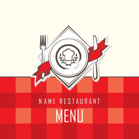 chefs cooking: menu design with dish, knife and fork