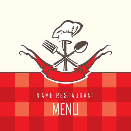 menu design with spoon, knife and fork