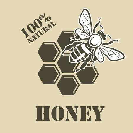 design with bee and of honeycomb Illustration
