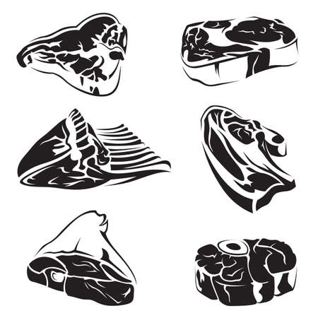 collection of six monochrome images of meat Vector