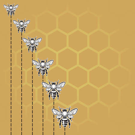 honeybee: background with bees and honeycomb