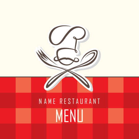 menu design with hat, fork and spoon on red background Vector