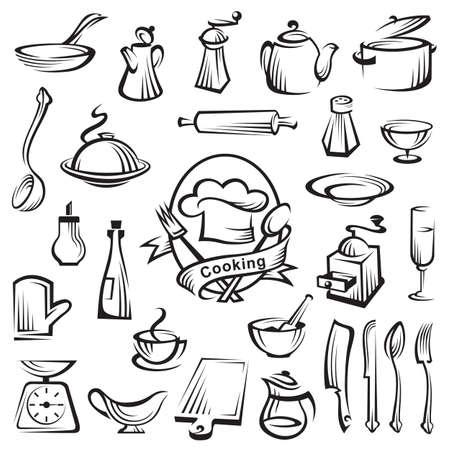 キッチン ツールや調理のデザイン要素