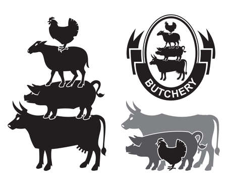 veal: monochrome set of farm animals design Illustration