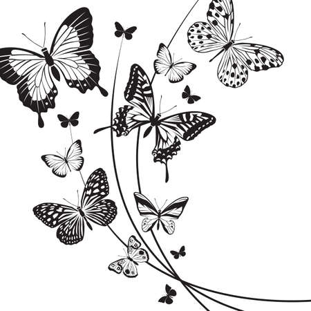 design of different red butterflies Illustration