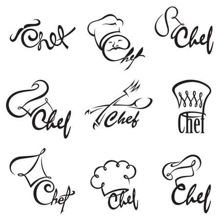 cocinero: ilustraci�n monocromo de conjuntos de chef Vectores