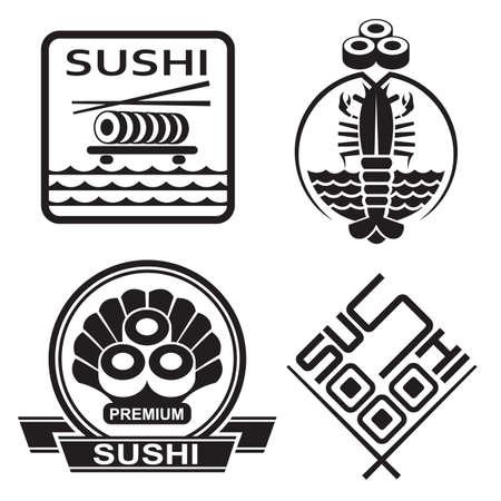 fresh salmon: monochrome set of sushi icons