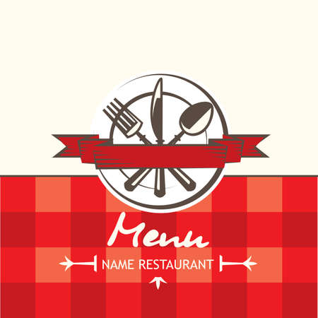 menu design with spoon, fork, knife and plate Vector