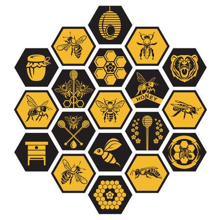 peine: etiquetas con abeja y miel sobre fondo negro Vectores