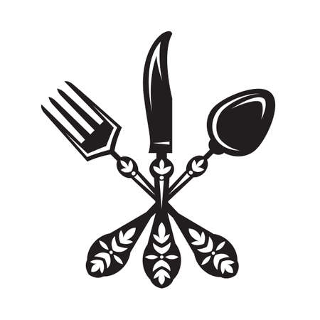 monochrome set of knife, fork and spoon Vector