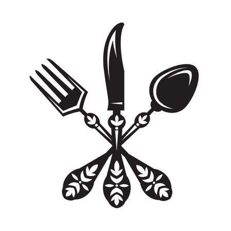 monochrome set van mes, vork en lepel
