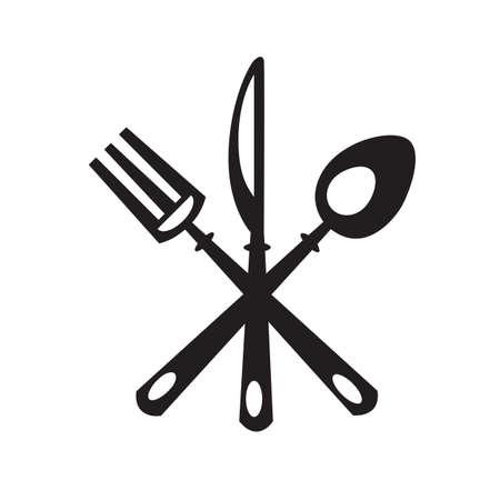 Monochrome Set de cuchillo, tenedor y cuchara Ilustración de vector