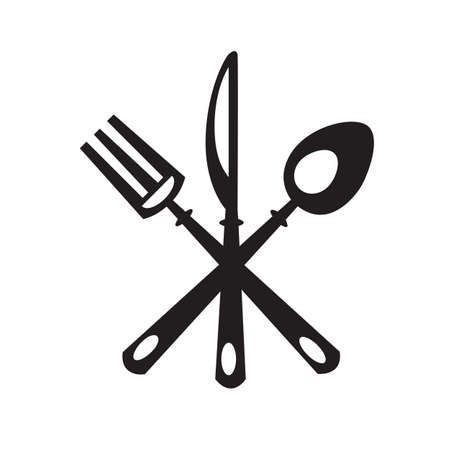 knife and fork: monochrome set of knife, fork and spoon