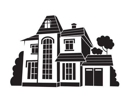 private: monochrome illustration of private house