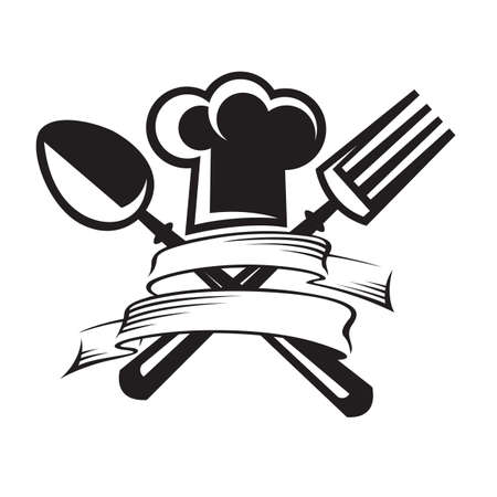 monochrome image of chef hat with spoon and fork Vector