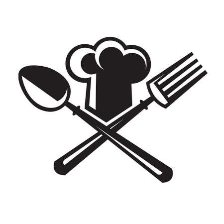 imagen monocroma de sombrero de chef con cuchara y tenedor