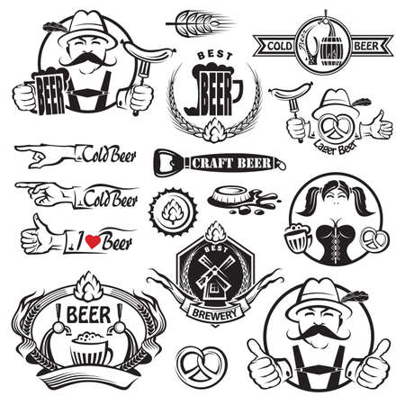 german sausage: monochrome set of beer icons