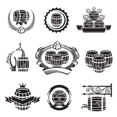 taverns: monochrome set of barrel icons Illustration