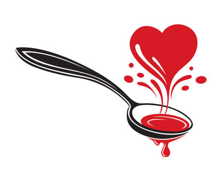 illustrations of spoon and heart Иллюстрация