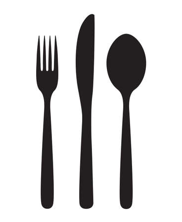 monochrome illustrations set of knife, fork and spoon Çizim